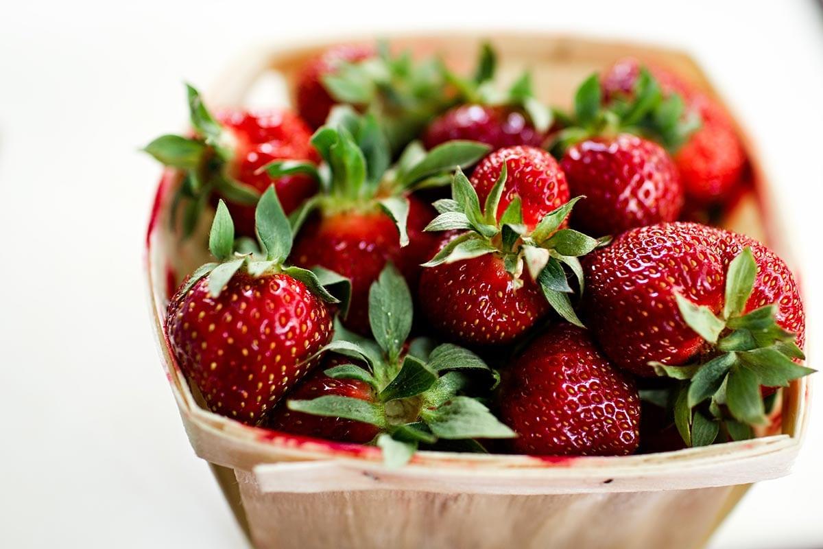 Healthy lunchbox strawberries